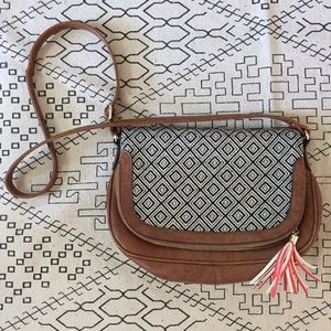 Crossbody purse vegan leather Aztec print foldover